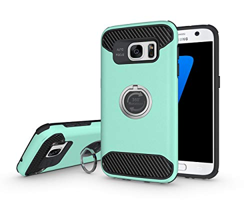- S7 Case, Galaxy S7 Case 360°Swivel Ring Kickstand Hybrid Dual Layer Protective Shock Absorption Hard Shell Soft TPU Bumper Cover for Samsung Galaxy S7 + Stylus (Teal)