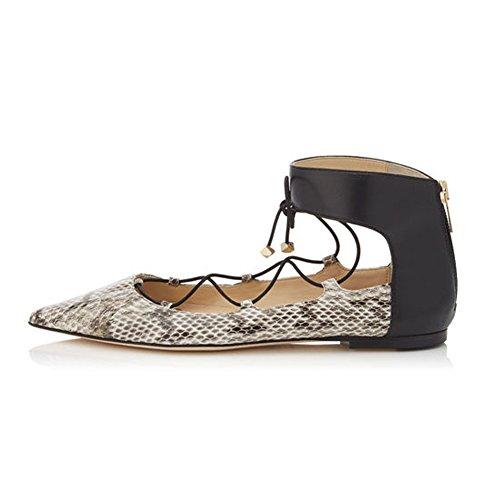 con cordones Snakeskin zapatos Mujer Kolnoo CaxXq5