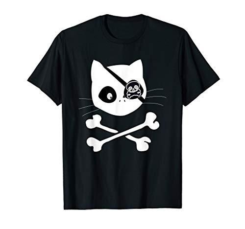 (pirate cat skull Funny 4th of July cat for men, women, kids T-Shirt)