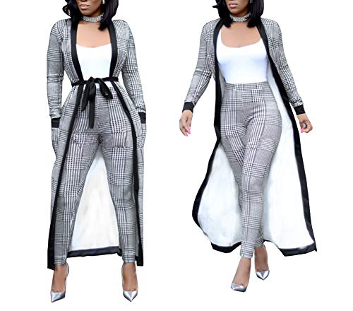 Womens 2 Piece Print Outfits Clubwear Long Sleeve Open Cardigan Pants Set Gray Size S