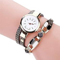 Ladies Bracelet Diamond Circle Watch Student Fashion Table Female Clock Top Chain Quartz Clock Christmas Gift A40 Black