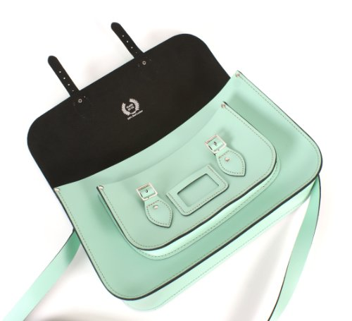 15 Mint Green English Leather Satchel Classic Retro Fashion laptop / school bag