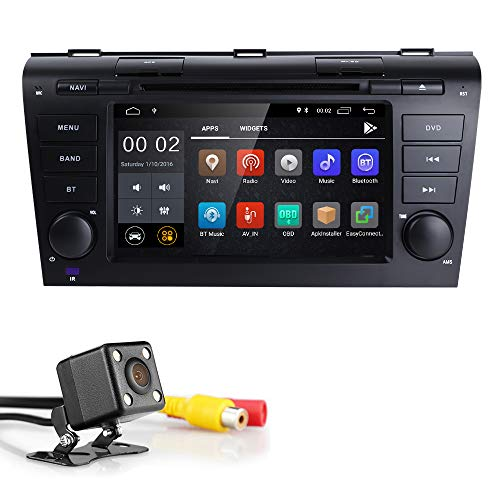 Android 8.1 Quad Core 7 inch Double Din in Dash HD Touch Screen Car DVD Player GPS Navigation Stereo for Mazda 3 2004-2009 Support Navi/Bluetooth/SD/USB/FM/AM Radio/WIFI/DVR/1080P + Camera