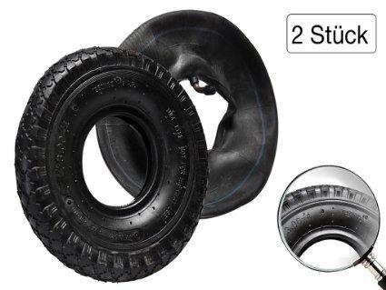 HKB® 2 PR Sackkarren Mantel und Schlauch, 2 Stück Reifen Stollenprofil + 2 x Schlauch 260 x 85 mm 3.00-4
