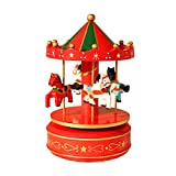YIYEZI Xmas Wooden Music Box Christmas Home Ornament Table Decoration Toy Gifts