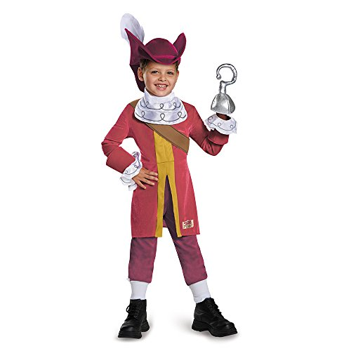 Disguise 85599M Captain Hook Deluxe Costume, Medium (3T-4T) (Captain Jack Sparrow Child Deluxe Costume)