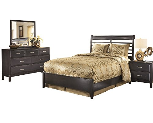 Ashley Kira 4PC Bedroom Set Queen Panel Bed Dresser Mirror One Nightstand in Almost Black