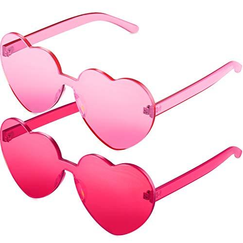 Maxdot 2 Pieces Pink Heart Shape Rimless SunglassesTransparent Candy Color Frameless Glasses Love Eyewear (Pink)