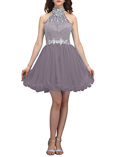 Wedtrend Women's Halter-neck Homecoming Dress with Beads Short Prom Dress WT12038Grey 4 ()