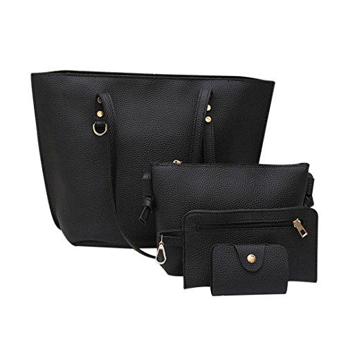 Black Women Litchi Crossbody Pattern Leather For Girl Black Handbag Bag Shoulder NXDA Women's Bag Women 4Pcs Wallet For 8nOqAqw4a