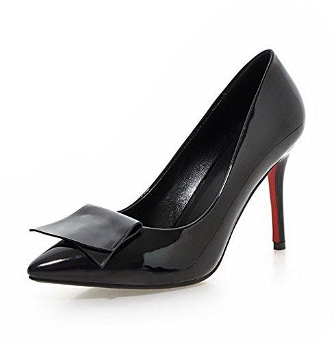 AllhqFashion Damen Hoher Absatz Lackleder Rein Ziehen auf Spitz Zehe Pumps Schuhe Schwarz