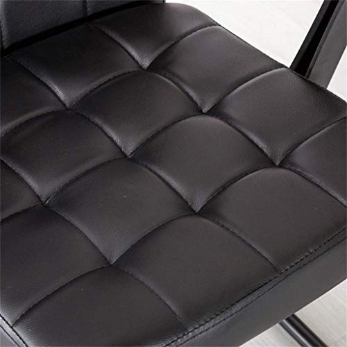 Stol möbler medium rygg falskt läder fåtölj justerbar datorskrivbord, vridbar med stålben för hemmakontor studierum, svart
