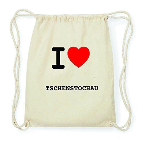 JOllify TSCHENSTOCHAU Hipster Turnbeutel Tasche Rucksack aus Baumwolle - Farbe: natur Design: I love- Ich liebe Dcnyg
