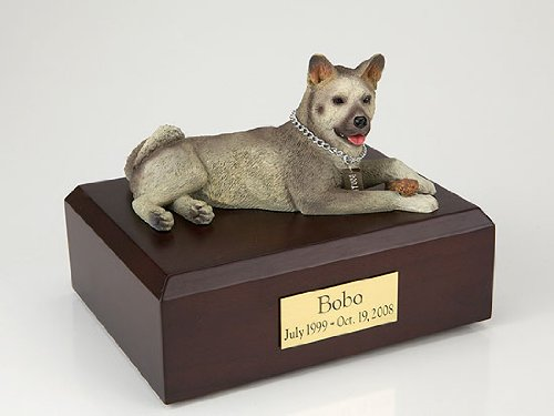 Pet Cremation Urn - Akita Gray, Laying Figurine On Traditional, Medium-Sized, Maple Wood Urn. (Listing Is For Maple Wood - See Color Swatch - Not Walnut Wood As (Maple Urn)