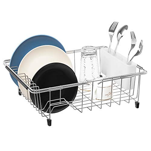 iPEGTOP Expandable Deep & Large Dish Drying Rack, Over the Sink, In Sink Or On Counter Dish Drainer with White Cutlery Caddy Utensil Holder, Rustproof Stainless Steel