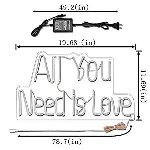 "All You Need is Love LED Neon Sign Lights Art Wall Decorative Lights 19.6""x11.7 (Warm White)"