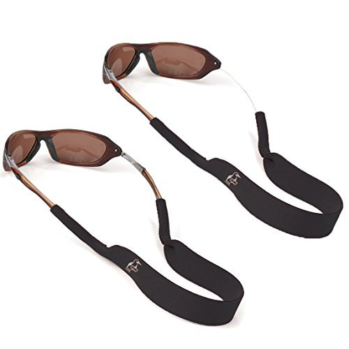 Chums Neoprene Elastic Eyeglass and Sunglass Retainer / Strap, Black (2 Pack) ()