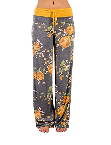 Ancha Cintura Exlura Femeninos Pantalones Pijama Con Amarillo Pierna Floral Palazzo Alta Estampado De qSvASpa