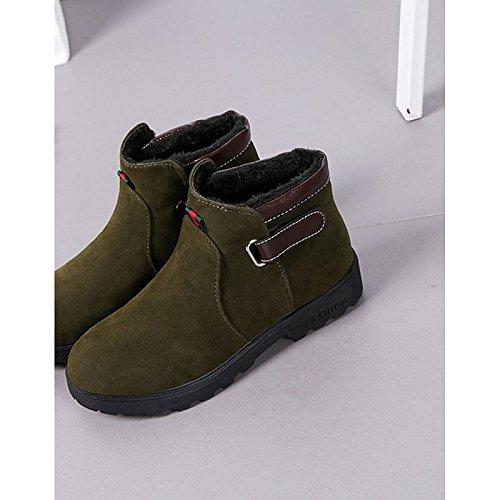 Ronda Toe de ejército HSXZ tacón invierno botas PU plano mujer para Zapatos Black Negro Casual verde Confort de PPrwxOv5