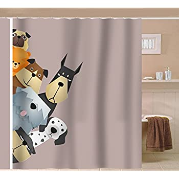 Sunlit Peekaboo Cute Dogs Curious Cartoon Puppy Fabric Shower Curtain For  Kids Dogs Lover PVC