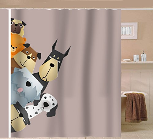 Sunlit Peekaboo Cute Dogs Curious Cartoon Puppy Fabric Shower Curtain for Kids dogs lover PVC-Free Odorless Taupe Beige Brown Tawny with Dalmatian Bulldog Pug Poodle (Cartoon Dog)