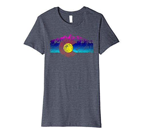 Womens Colorado State Flag Mountains Vintage Retro Colorful Version Small Heather Blue