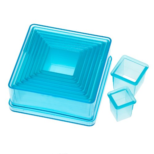 Ateco 5753 Plain Edge Square Cutter Set in Graduated Sizes, Durable, Food-Safe Plastic, 9 Pc ()