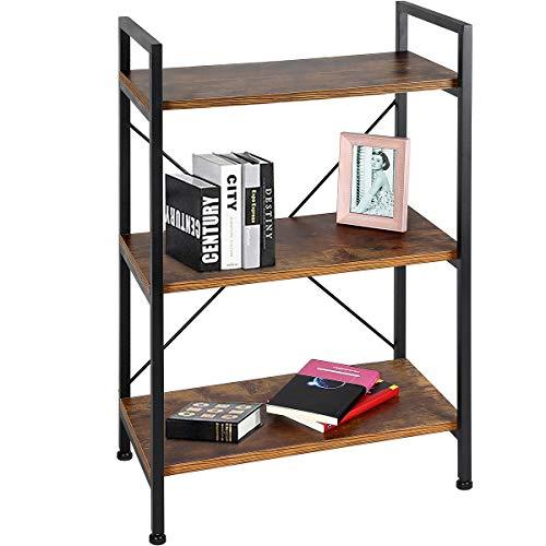 TomCare Bookshelf 3-Tier Bookcase Book Shelf Shelves Display Rack Office Storage Wood Look with Metal Frame Multifunctional Furniture for Entryway Living Room Bedroom Home Office ()