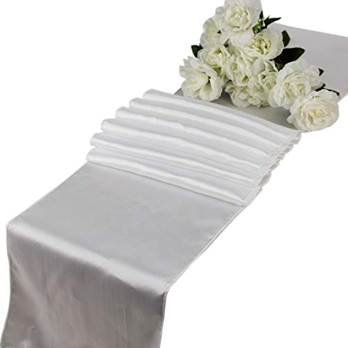mds Pack of 10 Wedding 12 x 108 inch Satin Table Runner for Wedding Banquet Decoration- White from mds