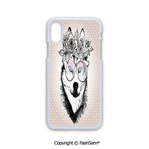 Plastic Rigid Mobile Phone case Compatible with iPhone X Black Edge Vintage Polka Dots and Dog Wearing Floral Wreath and Sunglasses 2D Print Hard Plastic Phone ()