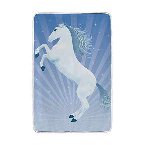 (ColourLife Queen Soft Blanket Throw Cozy Warm Flannel Fleece Blanket for Bed Sofa Couch Beach Camping 60x90 inches Beautiful Horse Rising Up On His Hind Legs)