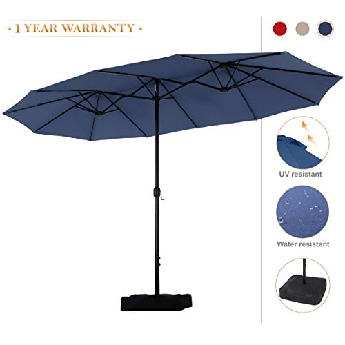 PHI VILLA 15ft Double-Sided Extra Large Patio Umbrella (Base Included) Outdoor Twin Umbrella (Navy)