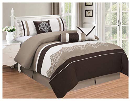 All American Collection New 7 Piece Embroidered Over-Sized Comforter Set (Cal King, Brown/Beige) Chenille King 7 Piece Comforter