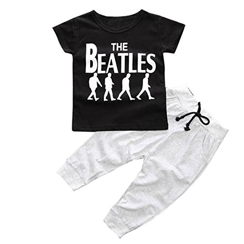 2pcs Baby Boys Outfit, Buedvo Clothes Short Sleeve The Beatle Print T shirt+Pants (0-9Months, (Baby Santa Outfit For Boy)
