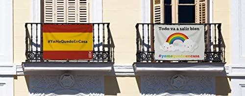 Bandera de Lona Todo va a Salir Bien Arco Iris con el Hashtag #YoMeQuedoEnCasa Medidas 100 x 70 cm | Pancarta de Apoyo a los Ciudadanos: Amazon.es: Hogar