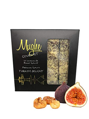 Luxury Turkish Delight with Fig and Walnuts 16 oz (16-18 pcs) Gift Box - Mughe Gourmet Famous Figs Walnut Sweet Confectionery Delights - Authentic Vegan / Vegetarian Glucose Free Gifts Sweets Candy