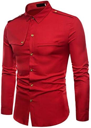 Sunnyuk Camisas De Vestir para Hombre Slim Fit Color Sólido Casuales De Manga Larga Camisas con Botones Camisas Formales para Hombres: Amazon.es: Deportes y aire libre
