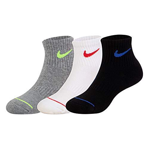 NIKE Children's Apparel Kids' Little Mid Cut Quarter Socks, black/Grey/White As, 5/7 (Nike Socks Ankle Mid)