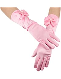 Greenmoe Girls Long Satin Finger Bowknot Formal Pageant Kids Gloves Pink