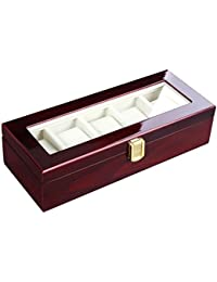 Watch Box Wooden Organizer 5 Slots Display Case Cherry UJOW05C