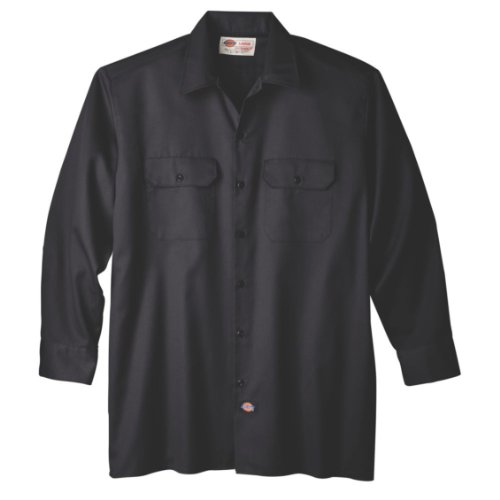 Dickies Men's Big-Tall Long Sleeve Work Shirt, Black,3XT