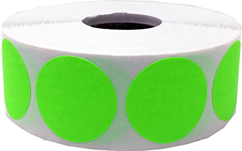 Color Coding Labels Fluorescent Green Round Circle Dots For Organizing Inventory 1 Inch 500 Total Adhesive Stickers