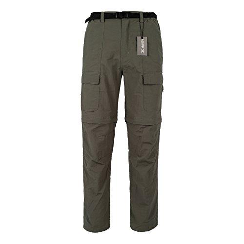 Quick Dry Pants, ADiPROD Men's Water Repellent Lightweight Convertible Cargo Shorts Hiking Pants (S, Green)