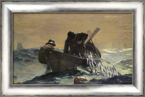 The Herring Net 24x16 Silver Contemporary Wood Framed Canvas Art by Homer, Winslow