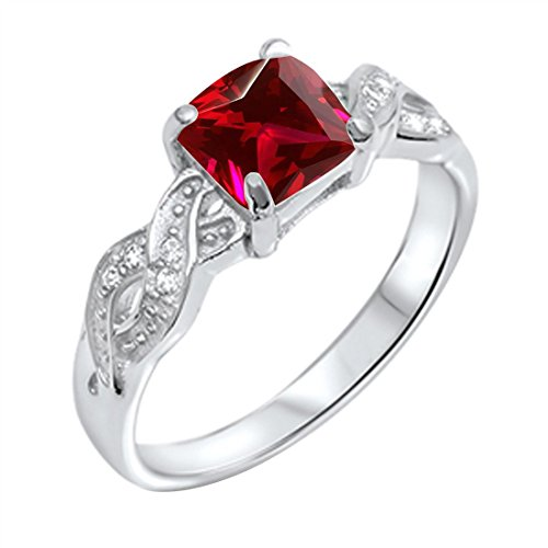 Blue Apple Co. Solitaire Infinity Shank Ring Simulated Ruby Princess Cut & Round CZ 925 Sterling Silver,Size-7