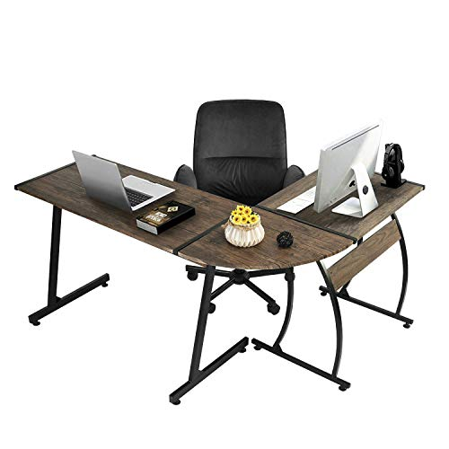 - GreenForest L-Shaped Corner Desk Gaming Computer PC Laptop Table Workstation for Home Office 3-Piece,Dark Walnut