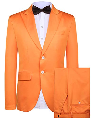 Hanayome Men's Suit 2 Pieces Slim Fit Suit Jacket Pant Coat Business Blazer Men -Orange-48R