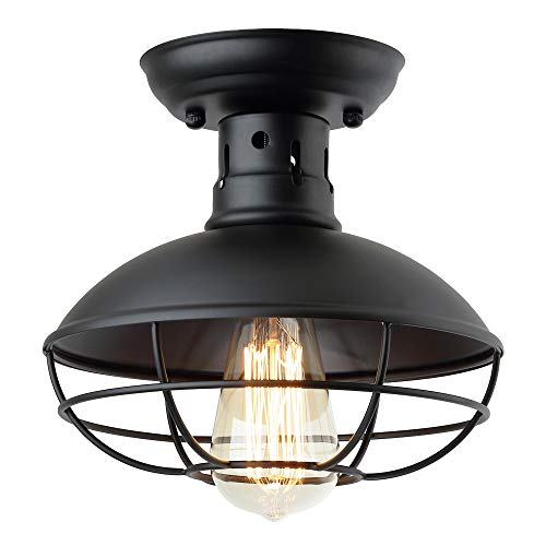 ZZ Joakoah Industrial Vintage Rustic Semi Flush Mount Ceiling Light, Metal Cage Pendant Lighting Lamp Fixture for Hallway Stairway Kitchen Garage Porch, E26, Black Painting Finish. ()