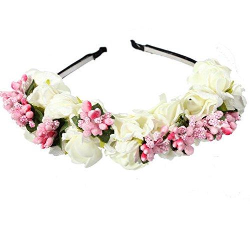 ncie Pink Flower Un Vivid Headband Artificial Party Bridal Headdress White dxwPzTA