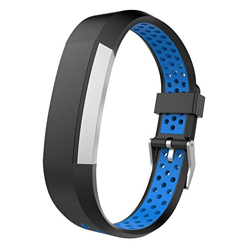 UMTELE Fitbit Alta Bands, Two-tone Perforated Replacement Wristband with Metal Buckle Clasp for Fitb